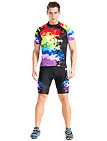 Cycling Jersey with Shorts Unisex Short Sleeve Bike Shorts Jersey Clothing SuitsBreathable Back Pocket Anti-skidding/Non-Skid/Antiskid