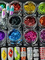 13 бутылка / набор горячих моды DIY красоты ногтей лазерной полосой ромба тонкий срез красочный дизайн ослепительно блестка украшения