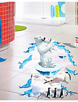 3D Polar Bears Penguins Sitting Room Bedroom Adornment Wall Stick  Floor