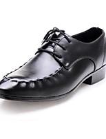 Черный-Для мужчин-Повседневный-ПолиуретанУдобная обувь-Туфли на шнуровке