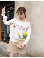 Women's Casual/Daily Simple Blouse,Floral Boat Neck Long Sleeve Cotton
