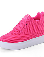 Women's Sneakers Spring Summer Creepers Comfort Tulle Outdoor Office & Career Casual Platform Lace-up Green Fuchsia Black White Walking