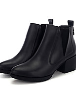 Women's Boots Fall Winter Comfort Nappa Leather Casual Chunky Heel Black