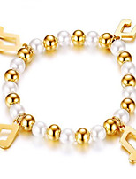 Women's Strand Bracelet Friendship Movie Jewelry Fashion Luxury Pearl Stainless Steel Geometric Gold Jewelry ForWedding Party Special