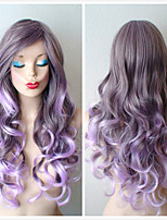 Lavender Ombre Wig Long Curly Hair Long Side Bangs Durable Heat Resistant Fashion Hairstyle Wig for Cosplay or Daytime Use