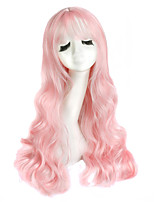 High Quality Long Wave Purple Mixed Pink Color Wigs Fashion Sexy Women Wigs Natural Hair Synthetic Wigs