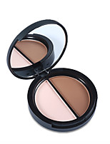 1Pcs 2 Colors Contour Palette Highlighter & Bronzer Press Powder Shimmer Grooming Powder Professional  Concealer Makeup
