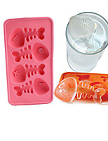 1Pcs  Silicone Fish Bone Shaped Ice Cube Trays Mold Maker  Random Color