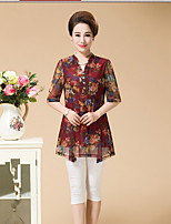 Women's Going out Simple Blouse,Floral V Neck ½ Length Sleeve Others