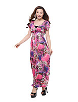 Women's Plus Size Beach Holiday Loose Swing Dress,Floral Deep V Maxi Short Sleeve Polyester Summer High Rise Micro-elastic Thin