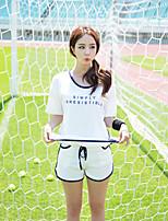 Damen einfarbig Gestreift Einfach Niedlich Aktiv Lässig/Alltäglich Urlaub T-Shirt-Ärmel Hose Anzüge,Rundhalsausschnitt