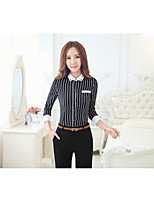 Women's Casual/Daily Vintage Shirt,Striped Stand Long Sleeve Cotton
