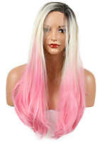 Fashion 1B/Pink Ombre Color Heat Resistant Synthetic Hair Long Straight Synthetic Lace Front Wig For Women