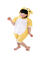 Kigurumi Pajamas Bear Leotard/Onesie Festival/Holiday Animal Sleepwear Halloween Yellow Solid Cotton Cosplay Costumes ForUnisex Female  Kid
