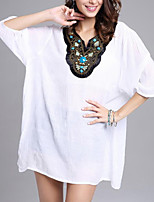 Women's Casual/Daily Simple Summer T-shirt,Solid V Neck ¾ Sleeve Polyester Medium