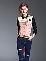 Dames Schattig Lente Zomer Overhemd,Uitgaan Casual/Dagelijks Print Overhemdkraag Lange mouw Polyester Medium