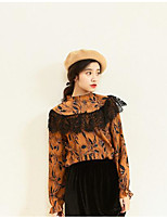 Women's Going out Vintage Shirt,Floral Crew Neck Long Sleeve Others