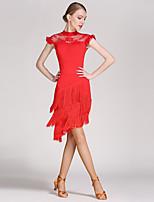 Latin Dance Outfits Women's Lace Viscose Tassel(s) Splicing 2 Pieces Sleeveless Natural Skirt Leotard