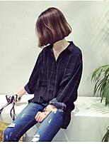 Women's Going out Simple Shirt,Plaid Shirt Collar Long Sleeve Cotton