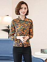 Women's Going out Casual/Daily Work Sexy Vintage Simple All Seasons Summer Shirt,Floral Stand Long Sleeve Rayon Thin