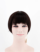 Fashion lady short paragraph perruques noir straight straight bangs high temperature wire wigs