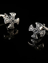 Court Retro Shirt Cufflinks for Mens Gift Brand Vintage Cuffs Buttons Iron Cross Cuff links Black Good Quality Man Acc Jewelry