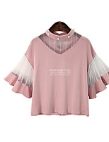 Women's Going out Party Holiday Cute Summer Blouse,Color Block Round Neck ½ Length Sleeve Rayon