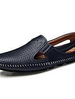 Черный Коричневый Синий-Для мужчин-Для прогулок Повседневный Для занятий спортом-Кожа-На плоской подошве-Удобная обувь-Мокасины и Свитер
