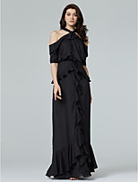 TS Couture Formal Evening Dress - Open Back Sheath / Column Halter Floor-length Chiffon with Bow(s) Ruffles