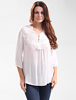 Women's Casual/Daily Work Holiday Vintage Shirt,Embroidered V Neck ¾ Sleeve Cotton