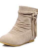 Women's Boots Fall Winter Comfort Leatherette Dress Casual Flat Heel Tassel Dark Brown Yellow Beige Black