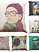 Set of 6 Creative People Pattern Linen Pillowcase Sofa Home Decor Cushion Cover  Throw Pillow Case (18*18inch)
