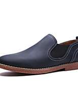 British Style Men's Loafers & Slip-Ons Spring Summer Comfort Microfibre Outdoor Athletic Casual Flat Heel Dark Brown Light Brown Navy Blue
