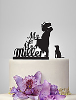 Personalized Acrylic Couple And A Dog Wedding Cake Topper