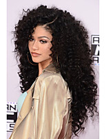 Gluess-Lace Front Wig Human Virgin Hair Natural Black Color Curly Lace Wig with Baby Hair