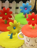 1Pcs Silicone Cute Flower  Anti-Dust Glass Cup Cover Coffee Mug Suction Seal Cap Random color