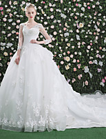 Princesa Vestido de casamento - Chique e Moderno Pretíssimos Cauda Real Decote V Renda Tule comCom Apliques Miçanga Flor Renda Estampa