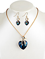 Drop Earrings Necklace Crystal Unique Design Dangling Style Euramerican Fashion Luxury Crystal Alloy Heart Cut Necklaces Earrings For