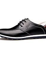 Men's Oxfords Summer Fall Comfort Leatherette Outdoor Office & Career Casual Walking Flat Heel Stitching Lace Lace-upBlack Brown Navy