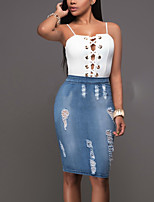 Women's Going out Casual/Daily Club Sexy Simple Street chic Tank Top Skirt SuitsColor Block Hole Strap Denim Backless Micro-elastic