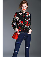 XSSLWomen's Going out Casual/Daily Work Simple Cute Street chic Spring Fall BlousePrint Stand Long Sleeve Polyester Medium