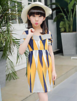 Girl's Casual/Daily Holiday Solid Floral Patchwork Dress,Cotton Polyester Summer Short Sleeve
