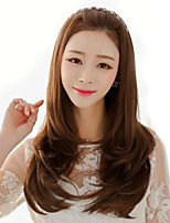 2017 fashion lady long wig brown natural wave high temperature wire wig