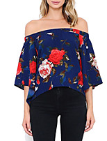 Women's Going out Casual/Daily Holiday Sexy Vintage Street chic All Match Backless Off-The-Shoulder T-shirtFloral Boat Neck  Sleeve Medium