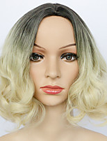Synthetic Wigs Ombre Black and Bleach Blonde Short Loose Wavy Capless Wigs 27 CM Heat Resistant Fiber Female