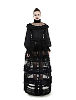 Punk Rave Women's Sexy Cute Punk Gothic Swing Tulle Lace Peplum Layered Solid Floral High Rise Maxi Skirts