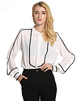 Lztlylzt Women's Casual/Daily Work Simple Spring Summer ShirtColor Block V Neck Long Sleeve Polyester Thin