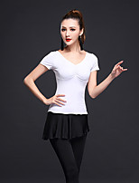 Latin Dance Outfits Women's Performance Milk Fiber Color Block 2 Pieces Short Sleeve Natural Top / Skirt