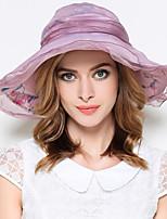 Для женщин Винтаж Очаровательный Для вечеринки Для офиса На каждый день Широкополая шляпа,Весна Лето осень Полиэстер Пэчворк