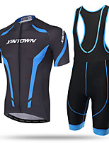 XINTOWN Cycling Jersey with Bib Shorts Men's Short Sleeve Bike Bib Tights JerseyQuick Dry Front Zipper Breathable Soft Compression 3D Pad